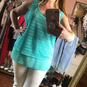 Milano sheer and textured teal tank top
